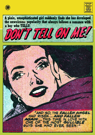 Don't Tell On Me | Romance Comics Graphic Design Greeting Cards Our blank notecards are custom printed at our location in Seattle, WA. They come bagged with an envelope. We love illustration art from old children's books and early, printed ephemera. These cards reflect this interest in bringing delightful art back to life.