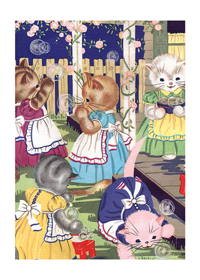 Kittens In The Garden | Captivating Cats Animals Art Prints These prints are made at our location in Seattle, WA. They have a thick, white backing board and are sealed in clear bags. Each is suitable for framing at 11 inches x 14 inches or can be used as is for wall display. Our goal is to bring back to life these wonderful illustrations from old-fashioned, children's books and from early advertising art.