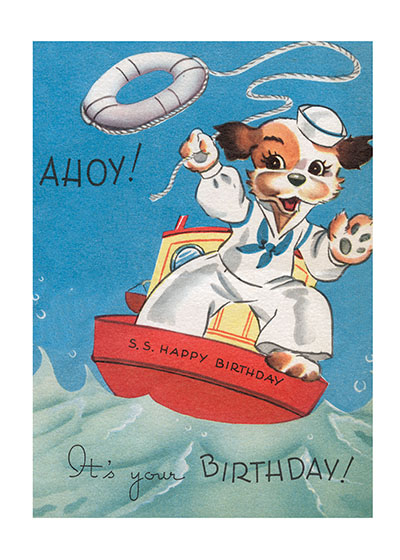 Sailor Dog  BLANK INSIDE  Our blank notecards are custom printed at our location in Seattle, WA. They come bagged with an envelope. We love illustration art from old children's books and early, printed ephemera. These cards reflect this interest in bringing delightful art back to life.