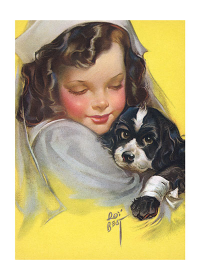 "Girl Nurse With Dog Blank Greeting Card | Get Well Greeting Cards ""Our blank notecards are custom printed at our location in Seattle, WA. They come bagged with an envelope. We love illustration art from old children's books and early, printed ephemera. These cards reflect this interest in bringing delightful art back to life."""