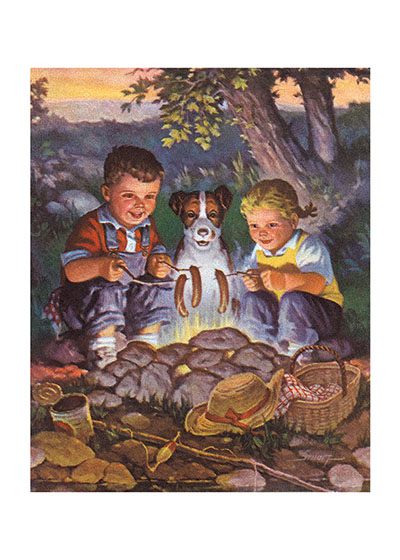 Kids and Dog By the Campfire   INSIDE GREETING:  Friendship is one of life's great joys.  A camping tableaux is brought to delightful life in this mid-century calendar illustration.