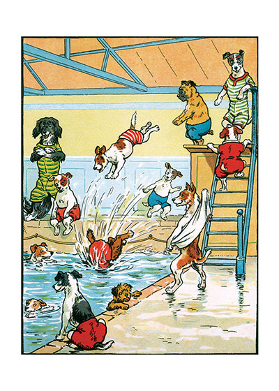 Swim Party!  BLANK INSIDE  Our blank notecards are custom printed at our location in Seattle, WA. They come bagged with an envelope. We love illustration art from old children's books and early, printed ephemera. These cards reflect this interest in bringing delightful art back to life.