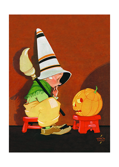 Cute Witch & Jack-O-Lantern This endearing witch in conversation with a jack-o-lantern is from Vernon Grant, the creator of the Snap! Crackle! and Pop! characters for Kelloggs.  These prints are made at our location in Seattle, WA. They have a thick, white backing board and are sealed in clear bags. Each is suitable for framing at 11 inches x 14 inches or can be used as is for wall display. Our goal is to bring back to life these wonderful illustrations from old-fashioned, children's books and from early advertising art.