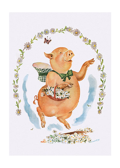 A Pig With Flowers These prints are made at our location in Seattle, WA. They have a thick, white backing board and are sealed in clear bags. Each is suitable for framing at 11 inches x 14 inches or can be used as is for wall display. Our goal is to bring back to life these wonderful illustrations from old-fashioned, children's books and from early advertising art.