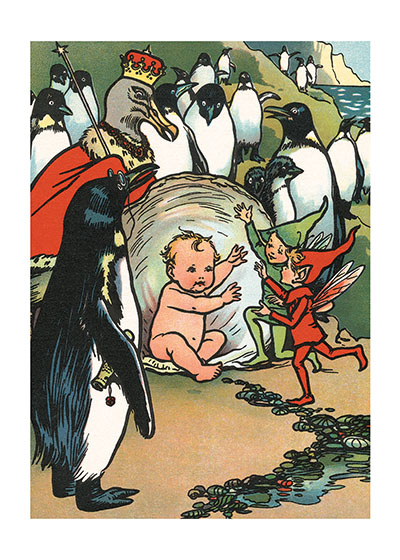 Baby With Penguins  BLANK INSIDE  Our blank notecards are custom printed at our location in Seattle, WA. They come bagged with an envelope. We love illustration art from old children's books and early, printed ephemera. These cards reflect this interest in bringing delightful art back to life