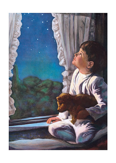 When You Wish Upon A Star These prints are made at our location in Seattle, WA. They have a thick, white backing board and are sealed in clear bags. Each is suitable for framing at 11 inches x 14 inches or can be used as is for wall display. Our goal is to bring back to life these wonderful illustrations from old-fashioned, children's books and from early advertising art.