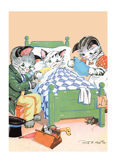 Cat Doctor and Patient  INSIDE GREETING: Feel better soon.  This feline doctor and nurse tending to a patient is from Ruth E. Newton, who had a long career in the United States as an illustrator of books, greeting cards, paper dolls and in advertising.