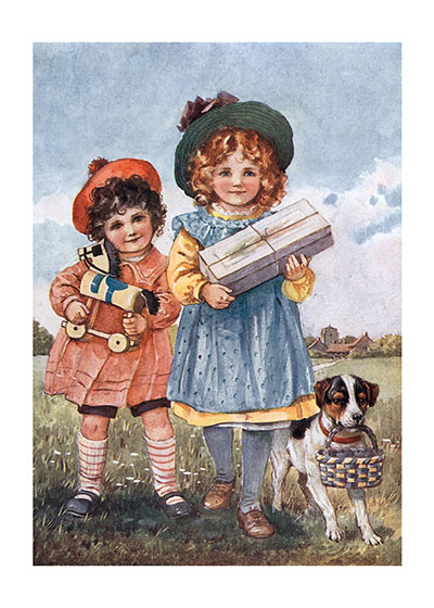 Two Girls and a Dog Bearing Gifts | Girls Children Greeting Cards