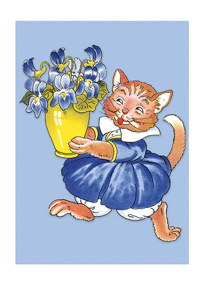 Cat In Blue Dress These prints are made at our location in Seattle, WA. They have a thick, white backing board and are sealed in clear bags. Each is suitable for framing at 11 inches x 14 inches or can be used as is for wall display. Our goal is to bring back to life these wonderful illustrations from old-fashioned, children's books and from early advertising art.