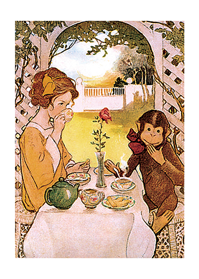 A Girl and Monkey Enjoying Tea These prints are made at our location in Seattle, WA. They have a thick, white backing board and are sealed in clear bags. Each is suitable for framing at 11 inches x 14 inches or can be used as is for wall display. Our goal is to bring back to life these wonderful illustrations from old-fashioned, children's books and from early advertising art.