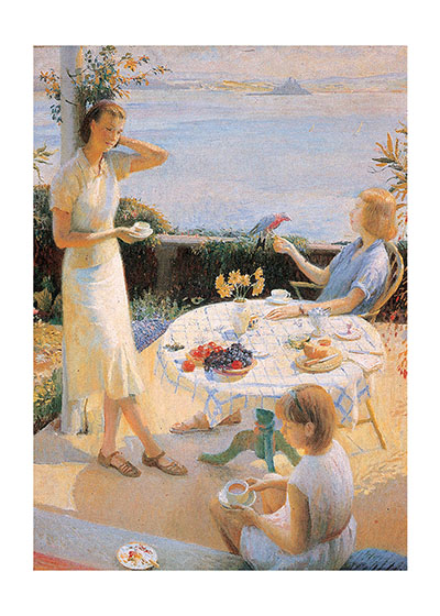 Women Having Tea on a Sunny Verandah | Women Greeting Cards