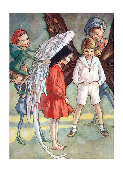 Fairy Children Receiving Their Wings These prints are made at our location in Seattle, WA. They have a thick, white backing board and are sealed in clear bags. Each is suitable for framing at 11 inches x 14 inches or can be used as is for wall display. Our goal is to bring back to life these wonderful illustrations from old-fashioned, children's books and from early advertising art.