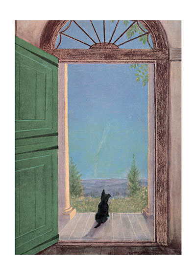 A Scottie Dog Waiting in a Doorway  BLANK INSIDE  Our blank notecards are custom printed at our location in Seattle, WA. They come bagged with an envelope. We love illustration art from old children's books and early, printed ephemera. These cards reflect this interest in bringing delightful art back to life.
