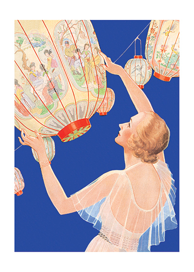 Woman With Giant Lanterns | 1930s Fashion Fashion Art Prints These prints are made at our location in Seattle, WA. They have a thick, white backing board and are sealed in clear bags. Each is suitable for framing at 11 inches x 14 inches or can be used as is for wall display. Our goal is to bring back to life these wonderful illustrations from old-fashioned, children's books and from early advertising art.