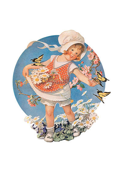 "A Little Girl In a Pinafore With Flowers and Butterflies | Girls Children Greeting Cards ""American illustrator Sarah Stilwell Weber brings us this smiling little girl, whose dress and mien are the very embodiment of cheer."
