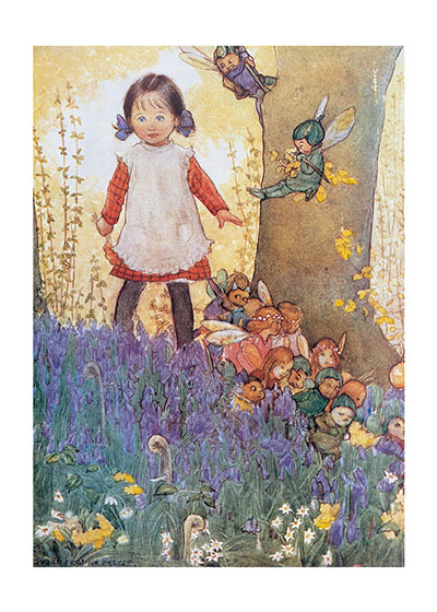 A Girl Meets The Fairies  INSIDE GREETING: Wishing you a magical birthday.  This girl meeting the fairies is from U.K. illustrator Susan B. Pearse, who was best known for her Ameliaranne books and an iconic poster for the Start Rite shoe company.  Our greeting cards are custom printed at our location in Seattle, WA. They come bagged with an envelope. We love illustration art from old children's books and early, printed ephemera. These cards reflect this interest in bringing delightful art back to life.