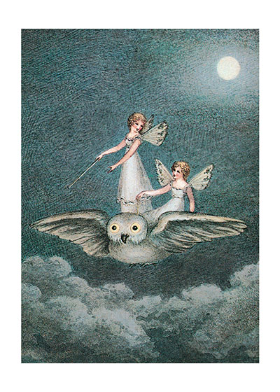 Fairies Riding Owl  INSIDE GREETING: Wishing you a magical birthday.  Amelia Jane Murray was a fairy painter of the early 19th century. She was from a noble family of the Isle of Man, and Manx folklore, history and its natural beauty informs her lovely paintings.  Our greeting cards are custom printed at our location in Seattle, WA. They come bagged with an envelope. We love illustration art from old children's books and early, printed ephemera. These cards reflect this interest in bringing delightful art back to life.