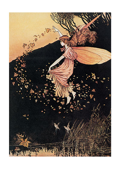 "A Fairy Scattering Leaves | Fairyland Fairies Art Prints ""Ida Rentoul Outhwaite (1888 - 1960) was an Australian illustrator of children's books. She was masterful at depicting fairies and the natural world. Her books include Elves and Fairies (1916), The Enchanted Forest (1921)and Blossom: A Fairy Story (1928)."