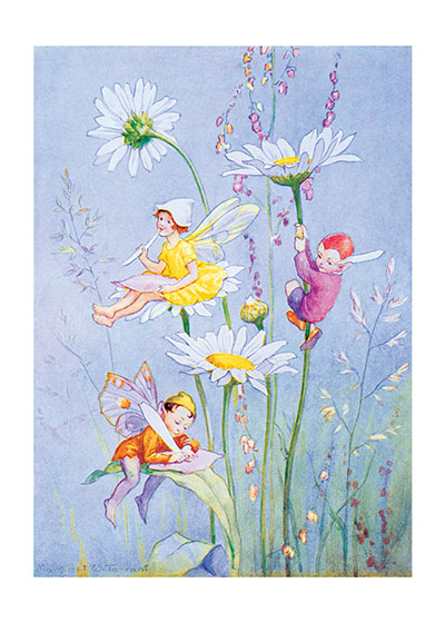 Little Fairies Among the Daisies These prints are made at our location in Seattle, WA. They have a thick, white backing board and are sealed in clear bags. Each is suitable for framing at 11 inches x 14 inches or can be used as is for wall display. Our goal is to bring back to life these wonderful illustrations from old-fashioned, children's books and from early advertising art.