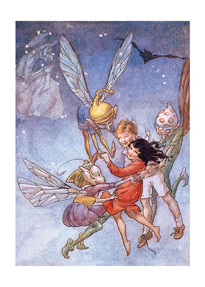 Flying With the Fairies  BLANK INSIDE  Our blank notecards are custom printed at our location in Seattle, WA. They come bagged with an envelope. We love illustration art from old children's books and early, printed ephemera. These cards reflect this interest in bringing delightful art back to life