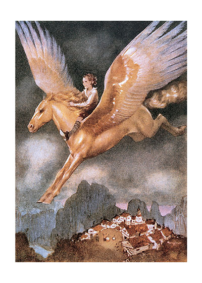 A Boy Riding a Winged Horse | Boys Children Greeting Cards