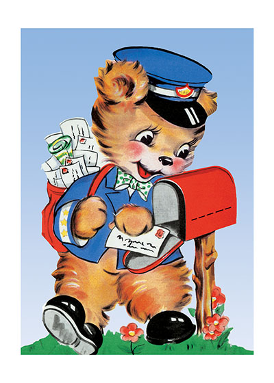 Bear Mail Carrier  BLANK INSIDE  Our blank notecards are custom printed at our location in Seattle, WA. They come bagged with an envelope. We love illustration art from old children's books and early, printed ephemera. These cards reflect this interest in bringing delightful art back to life.