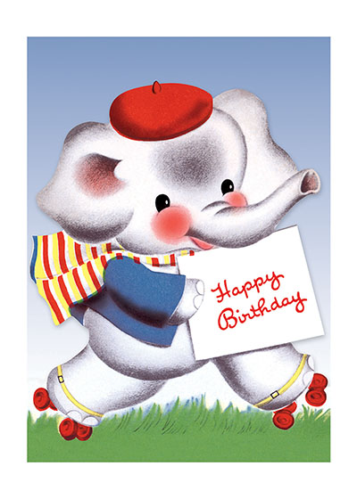 Roller Skating Elephant | Birthday Greeting Cards