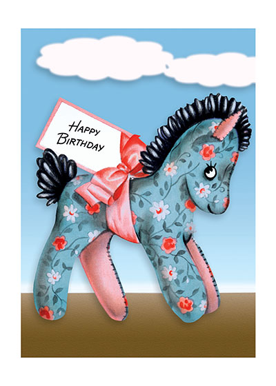 A Pony with a Birthday Wish  BLANK INSIDE  Our blank notecards are custom printed at our location in Seattle, WA. They come bagged with an envelope. We love illustration art from old children's books and early, printed ephemera. These cards reflect this interest in bringing delightful art back to life.