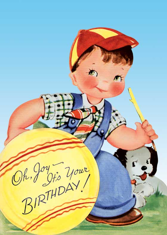 Boy w/ Ball & Dog - Greeting Card (Bagged with Envelope) | Birthday Greeting Cards A rosy-cheeked boy and his adorable dog convey birthday happiness.