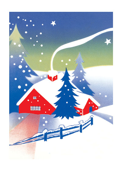 A Red Cabin In The Snow  BLANK INSIDE  Our blank notecards are custom printed at our location in Seattle, WA. They come bagged with an envelope. We love illustration art from old children's books and early, printed ephemera. These cards reflect this interest in bringing delightful art back to life.