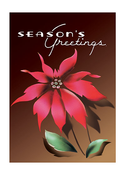 Season's Greetings Poinsettia  BLANK INSIDE  Our blank notecards are custom printed at our location in Seattle, WA. They come bagged with an envelope. We love illustration art from old children's books and early, printed ephemera. These cards reflect this interest in bringing delightful art back to life.