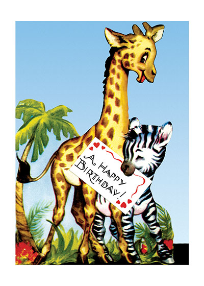 A Giraffe and Zebra Say Happy Birthday!  BLANK INSIDE  Our blank notecards are custom printed at our location in Seattle, WA. They come bagged with an envelope. We love illustration art from old children's books and early, printed ephemera. These cards reflect this interest in bringing delightful art back to life.