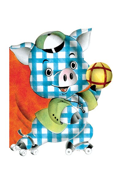 A Gingham Pig on Roller Skates These prints are made at our location in Seattle, WA. They have a thick, white backing board and are sealed in clear bags. Each is suitable for framing at 11 inches x 14 inches or can be used as is for wall display. Our goal is to bring back to life these wonderful illustrations from old-fashioned, children's books and from early advertising art.