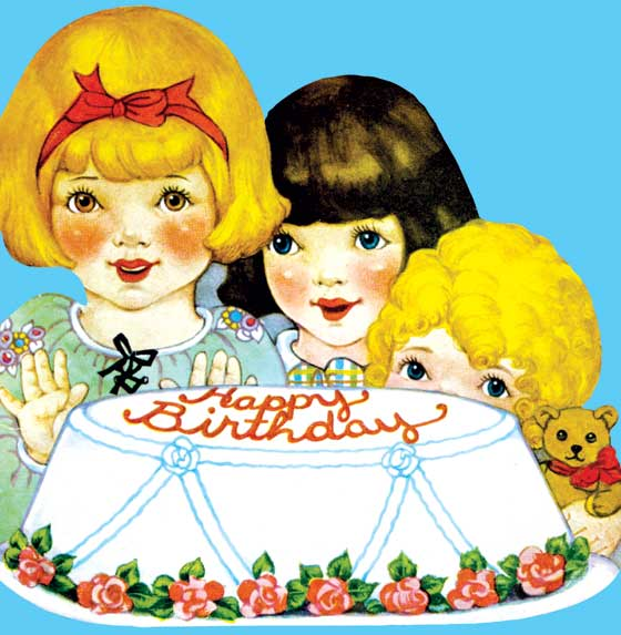 Children With Cake  OUTSIDE GREETING:  Happy Birthday  INSIDE GREETING:  A big Happy Birthday!  And a wish for the best, Through a year that will always, Stand out from the rest.  We plucked these images from our rich collection of greeting cards; most are from the 1950's. While this era's design sensibilities are not often celebrated, this offering of stuffed animals, adorable puppies, smiling elephants and more has a naive charm that is very appealing. The die cutting emphasizes the cards' blunt graphic appeal. The colors are vivid, and the appropriately lighthearted greetings are suitable for general birthday use. While certainly suitable for giving to a child, we think these cards will also appeal to many adults for nostalgic reasons, evoking memories of birthdays past, of cakes decorated with cowboys or ballerinas, of games of musical chairs or the thrill of a visiting clown or magician. Here some happy, smiling children anticipate a delicious looking birthday cake.