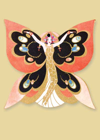 Art Deco Butterfly Woman  BLANK INSIDE  Our blank notecards are custom printed at our location in Seattle, WA. They come bagged with an envelope. We love illustration art from old children's books and early, printed ephemera. These cards reflect this interest in bringing delightful art back to life