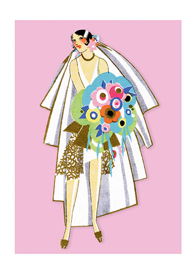 Art Deco Bride  BLANK INSIDE  Our blank notecards are custom printed at our location in Seattle, WA. They come bagged with an envelope. We love illustration art from old children's books and early, printed ephemera. These cards reflect this interest in bringing delightful art back to life