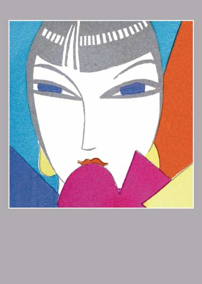 Art Deco Woman Blue Eyes Greeting Card | Bridge Table Deco Graphic Design Greeting Cards