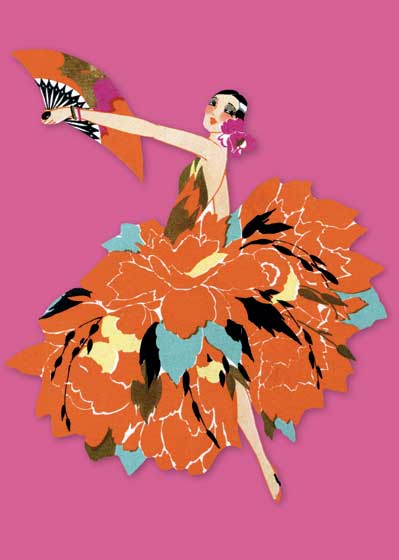 Art Deco Flower Dancer | Bridge Table Deco Graphic Design Greeting Cards Blank Inside