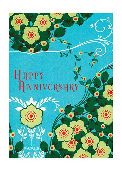 Happy Anniversary  Our blank notecards are custom printed at our location in Seattle, WA. They come bagged with an envelope. We love illustration art from old children's books and early, printed ephemera. These cards reflect this interest in bringing delightful art back to life.