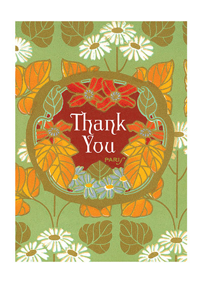 Thank you Floral  BLANK INSIDE  Our blank notecards are custom printed at our location in Seattle, WA. They come bagged with an envelope. We love illustration art from old children's books and early, printed ephemera. These cards reflect this interest in bringing delightful art back to life
