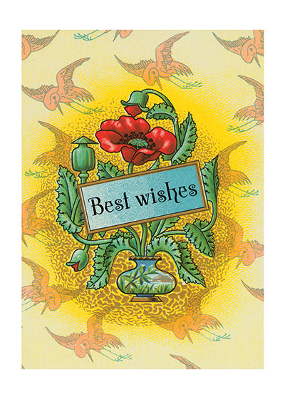 Art Deco Best Wishes  BLANK INSIDE  We offer this series, which covers many of the occasions on which a printed card is suitable, for those prefer the elegant and restrained.  Each thought is minimally stated, and is enclosed in a delicate design.  The designs we use here are all taken from the labels of French beauty products.  Here, as in many areas of decoration, the French triumph.  Imagine that you are wandering adventurously through the backstreets of Paris.  You chance upon a little card shop, a carterie, and there find cards of such quiet loveliness that you can't resist buying a number to take home.  These are the cards you discovered.