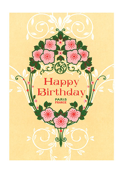 Art Nouveau Pink Flowers Birthday Greeting Cards