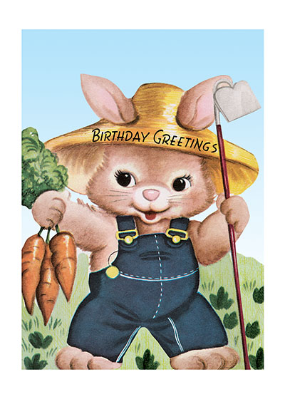 Farmer Rabbit  Our blank notecards are custom printed at our location in Seattle, WA. They come bagged with an envelope. We love illustration art from old children's books and early, printed ephemera. These cards reflect this interest in bringing delightful art back to life.