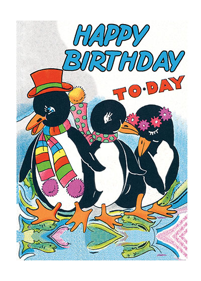 Penguins  BLANK INSIDE  Our blank notecards are custom printed at our location in Seattle, WA. They come bagged with an envelope. We love illustration art from old children's books and early, printed ephemera. These cards reflect this interest in bringing delightful art back to life.