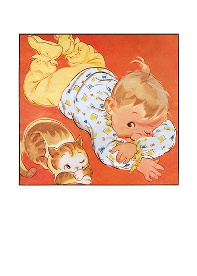 Baby and Cat These prints are made at our location in Seattle, WA. They have a thick, white backing board and are sealed in clear bags. Each is suitable for framing at 11 inches x 14 inches or can be used as is for wall display. Our goal is to bring back to life these wonderful illustrations from old-fashioned, children's books and from early advertising art.