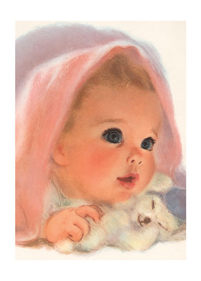 A Baby With a Blanket and a Toy | Baby Art Prints