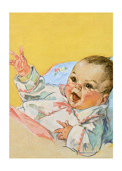 Smiling Baby  INSIDE GREETING:  Wishing you joy on the new arrival.  Our greeting cards are custom printed at our location in Seattle, WA. They come bagged with an envelope. We love illustration art from old children's books and early, printed ephemera. These cards reflect this interest in bringing delightful art back to life.