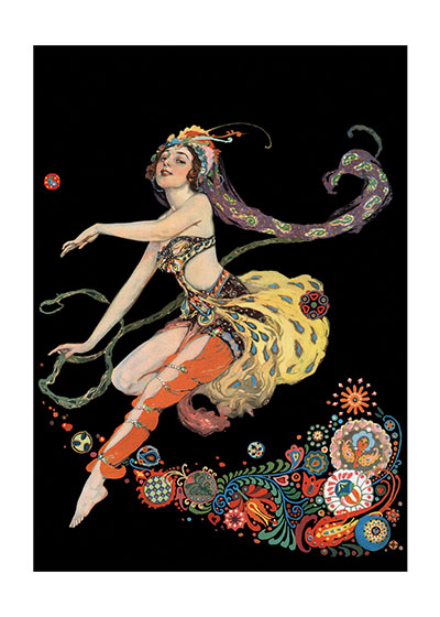 A Dancing Woman c. 1910's These prints are made at our location in Seattle, WA. They have a thick, white backing board and are sealed in clear bags. Each is suitable for framing at 11 inches x 14 inches or can be used as is for wall display. Our goal is to bring back to life these wonderful illustrations from old-fashioned, children's books and from early advertising art.  Willy Pogany (1882 - 1955) was born in Hungary, but emigrated to the U.K. and finally the United States as a young man. His exquisite Art Nouveau illustrations were featured in over 150 children's books, but he also worked in periodicals, as a set designer in Hollywood films, and painted murals. Pogany's Eastern European origins are evident in both the dancer's costume and the decorative elements.