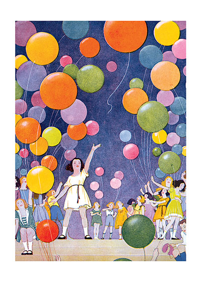 Girls With Balloons  BLANK INSIDE  Our blank notecards are custom printed at our location in Seattle, WA. They come bagged with an envelope. We love illustration art from old children's books and early, printed ephemera. These cards reflect this interest in bringing delightful art back to life.
