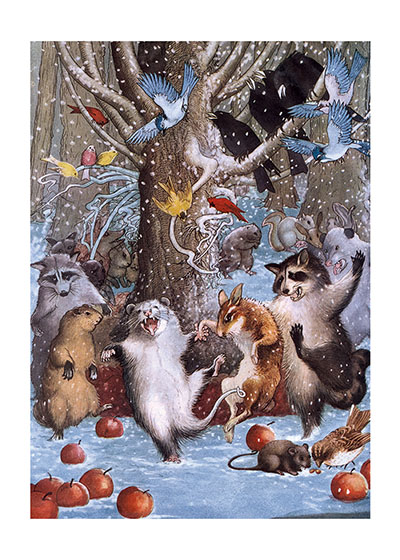 Animals Dancing In the Snow  INSIDE GREETING: Celebrate!  These woodland creatures dancing with abandon in a snowy forest is a magazine illustration circa 1920. It is one of our most popular images, we think because it so beautifully captures exuberance.  Our notecards are custom printed at our location in Seattle, WA. They come bagged with an envelope. We love illustration art from old children's books and early, printed ephemera. These cards reflect this interest in bringing delightful art back to life.